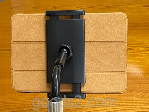 TRYONEタブレット・スマホスタンドでIPad Miniを使う(裏側)
