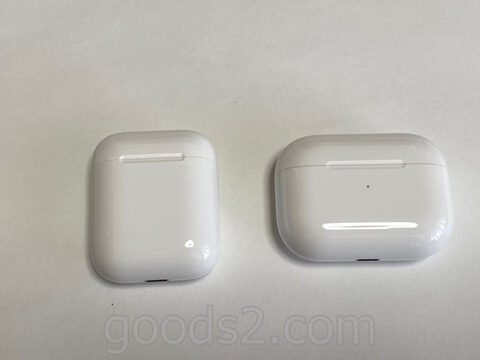 AirPods ProとAirPodsの充電ケース比較