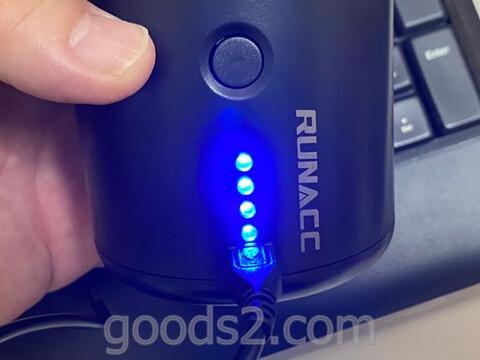 RUNACC 電動エアーポンプの充電ランプ